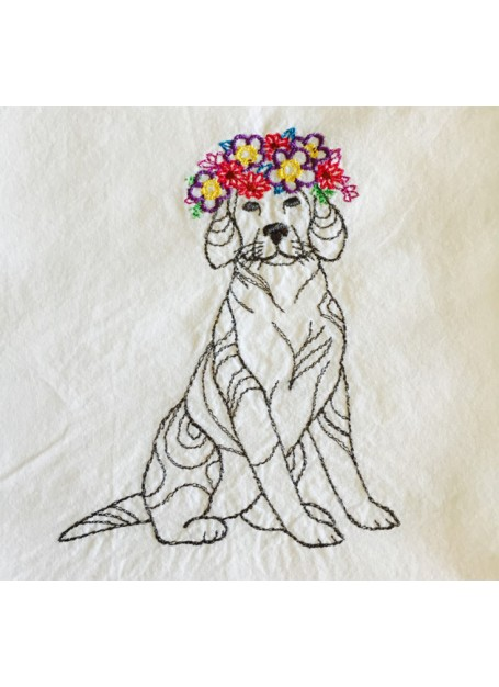 Dog with Floral Crown Kitchen Towel