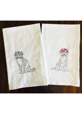 Cat and Dog with Floral Crown - Set of 2