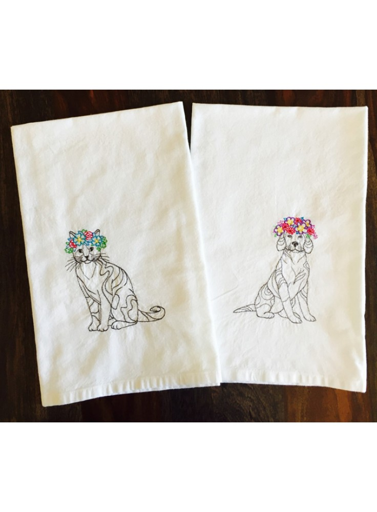 Cat And Dog With Floral Crown   Set Of 2