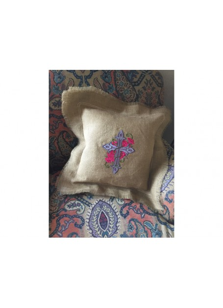 Cross and Roses Embroidered Burlap Pillow